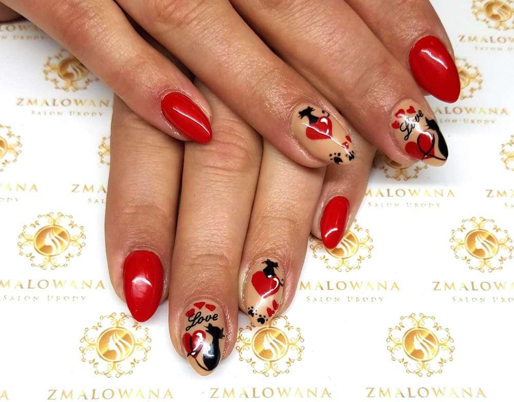 czerwone paznokcie, hybrydowe, w wzorki walentynkowe, długie