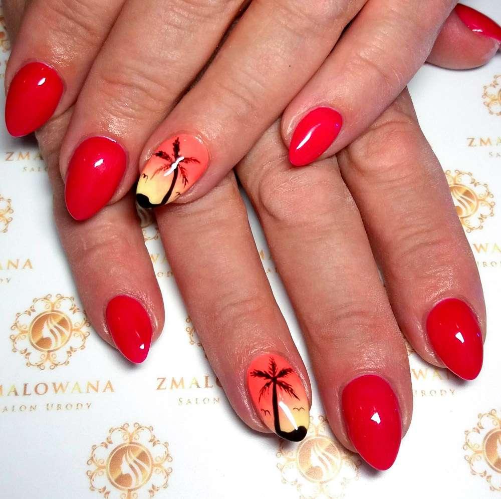 czerwone letnie, wakacyjne paznokcie w palmy, hybrydowe, długie