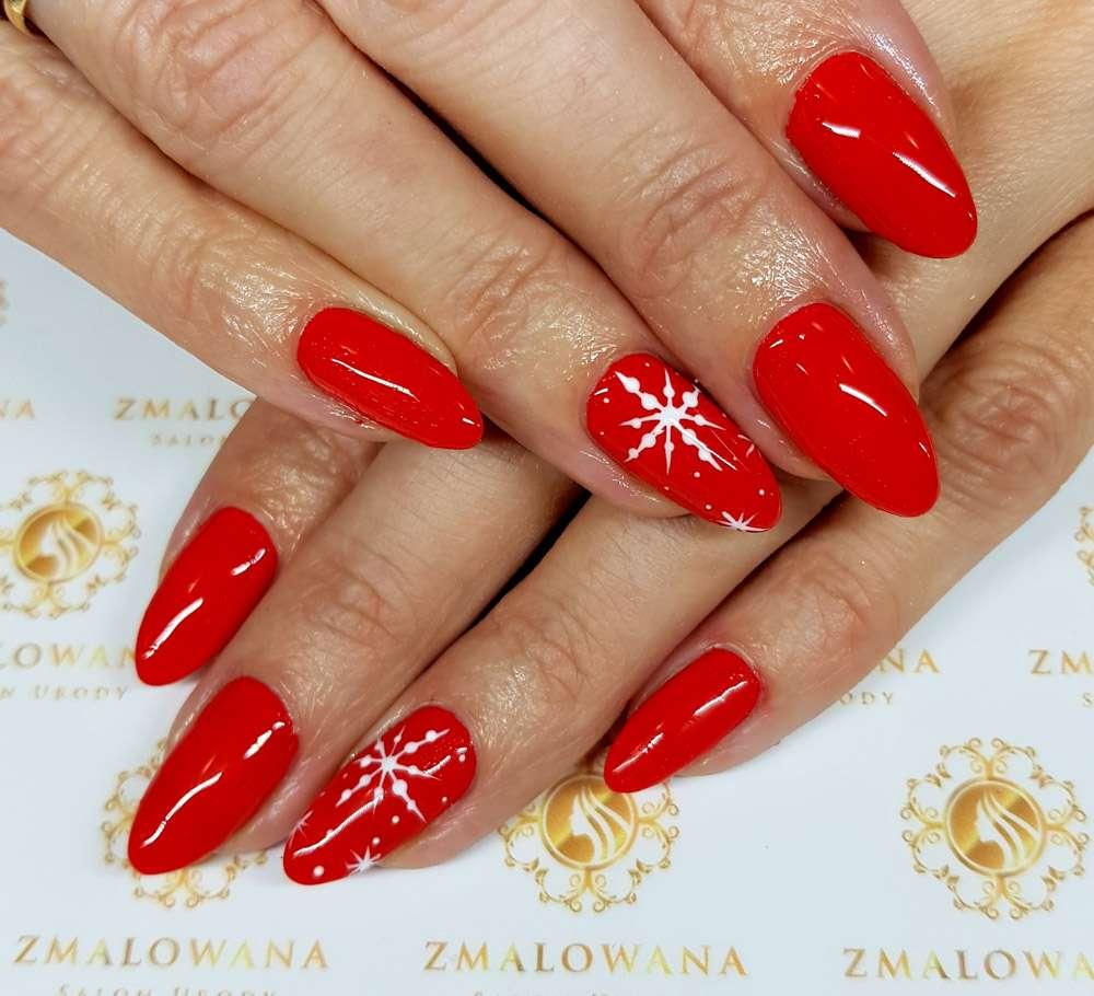 długie czerwone paznokcie w migdał, świąteczne hybrydowe