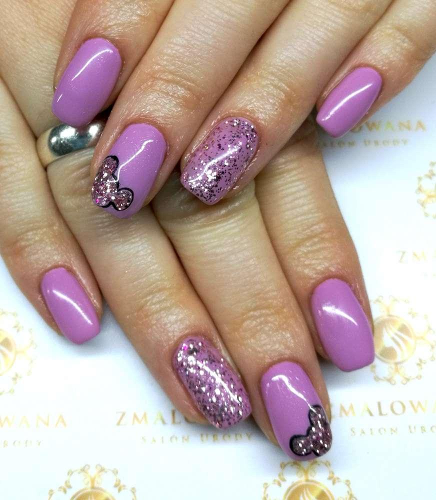 fioletowe, kwadratowe w myszka miki paznokcie hybrydowe z brokatem