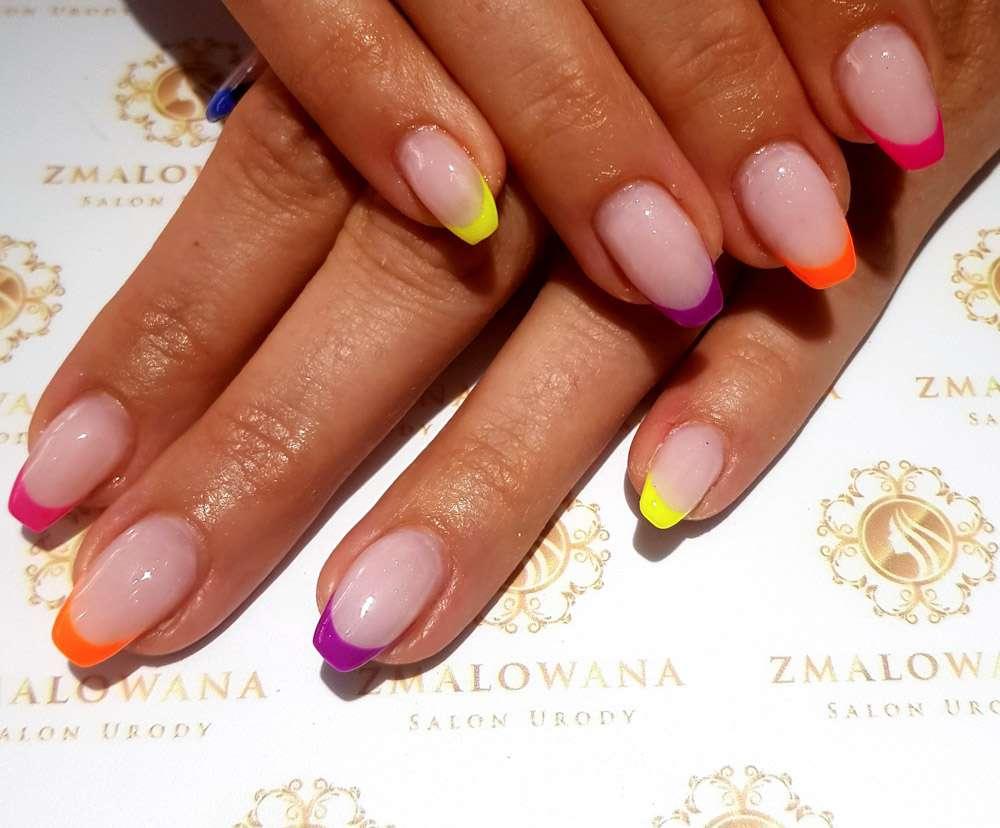 kolorwych french, długie kwadratowe, naturalne,żelowe paznokcie